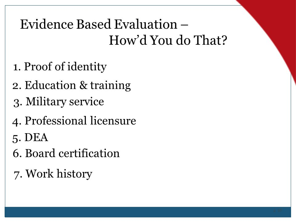 Evidence Based Evaluation – How'd You do That