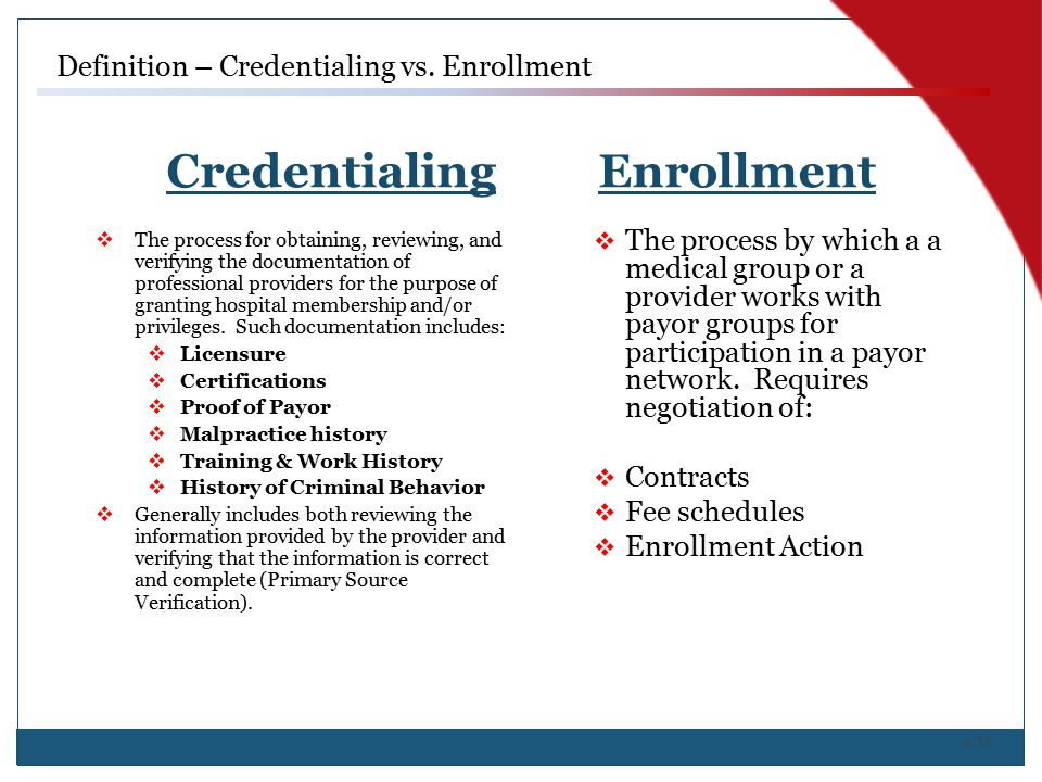 Credentialing Enrollment