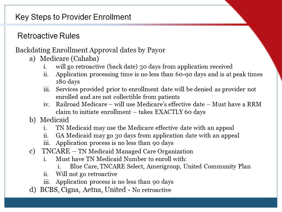 Key Steps to Provider Enrollment Retroactive Rules