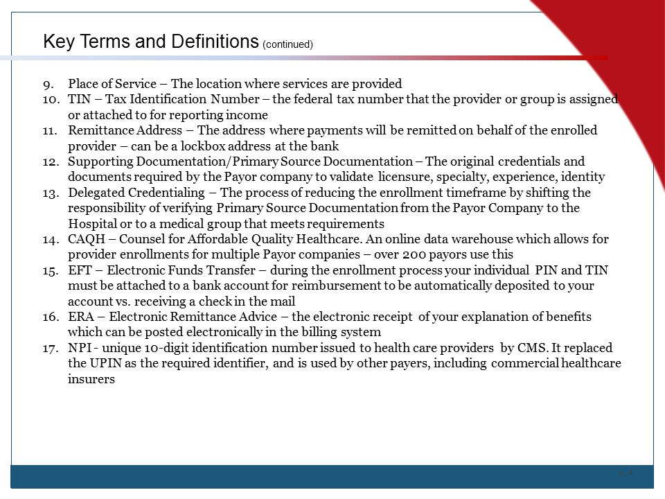 Key Terms and Definitions (continued)