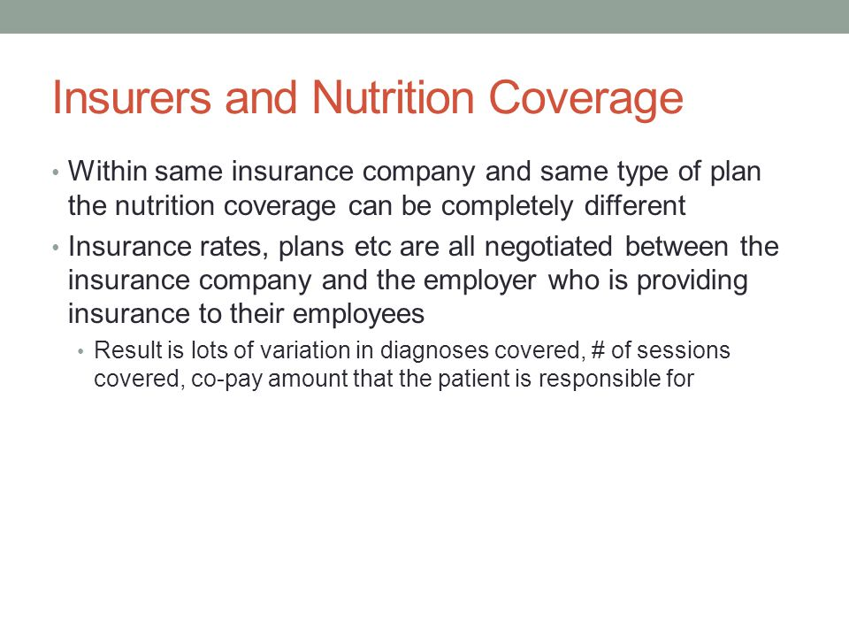 Insurers and Nutrition Coverage