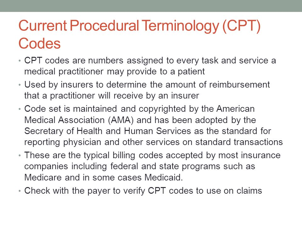 Current Procedural Terminology (CPT) Codes