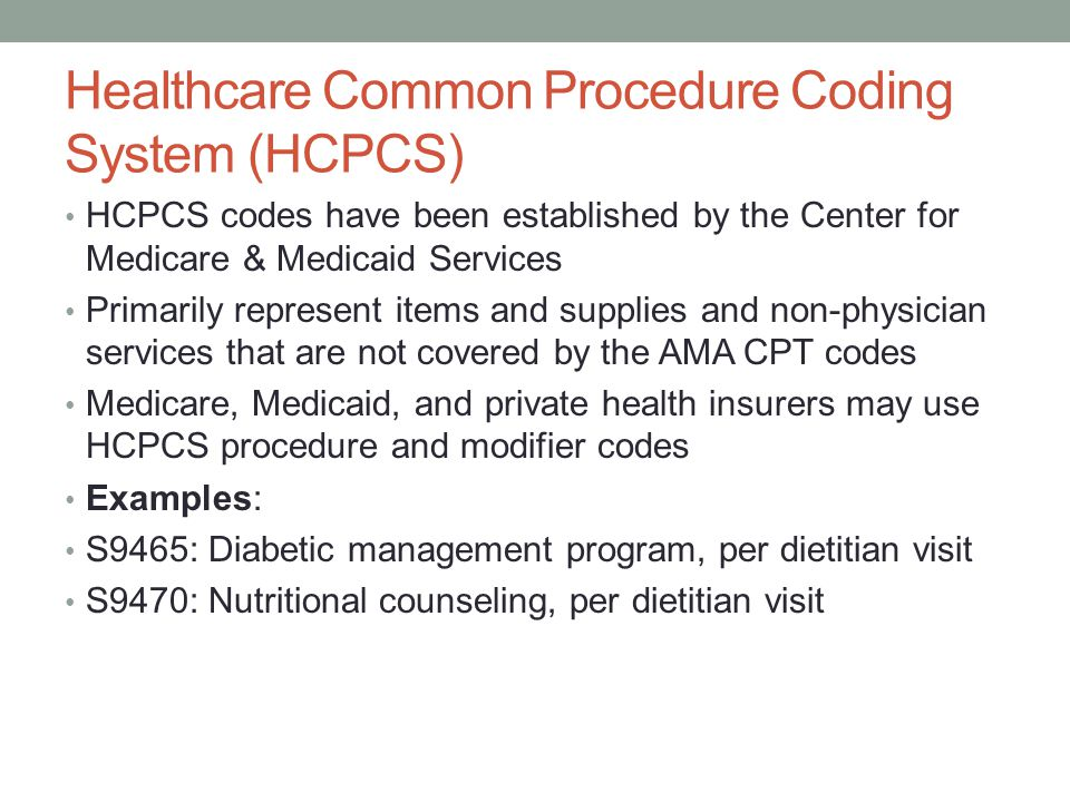 Healthcare Common Procedure Coding System (HCPCS)