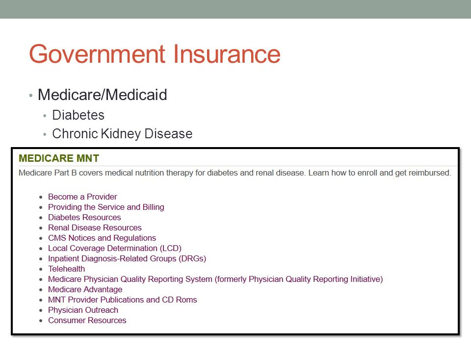 Government Insurance Medicare/Medicaid Diabetes Chronic Kidney Disease