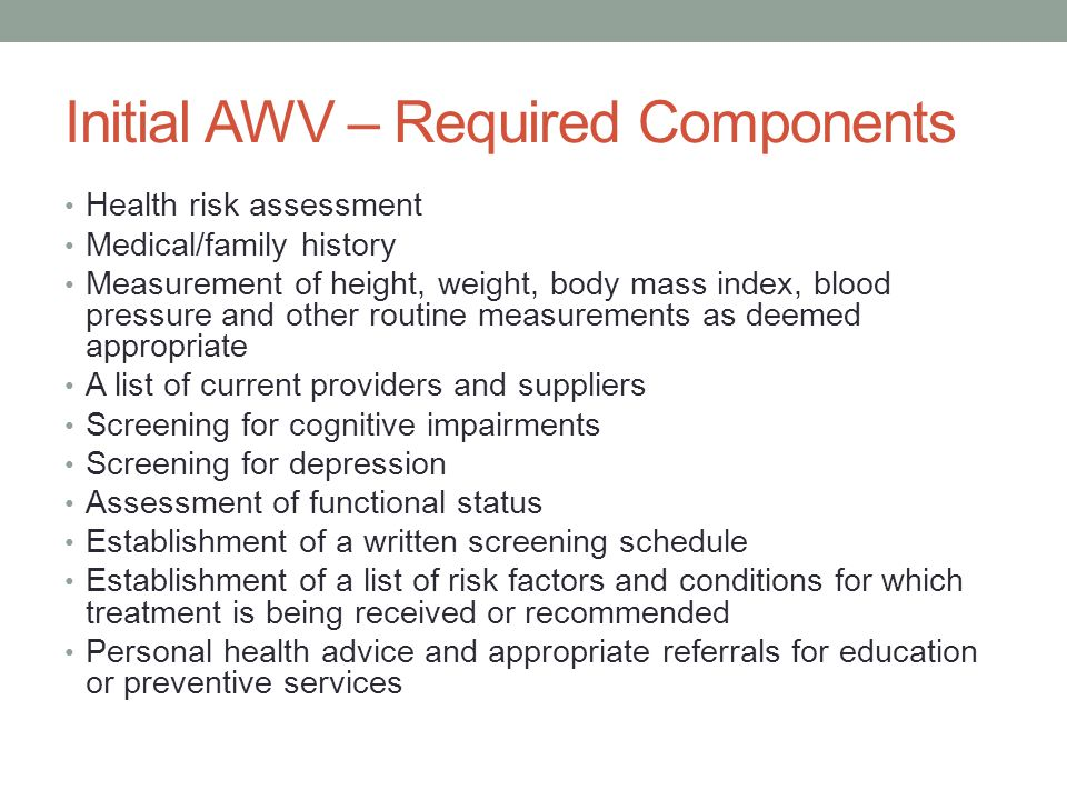 Initial AWV – Required Components