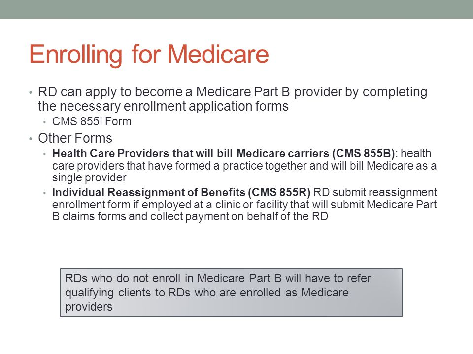 Enrolling for Medicare
