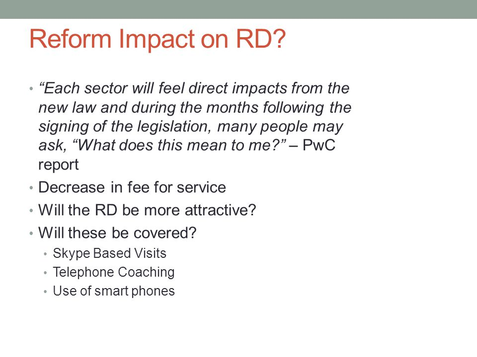 Reform Impact on RD