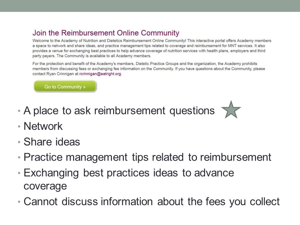 A place to ask reimbursement questions