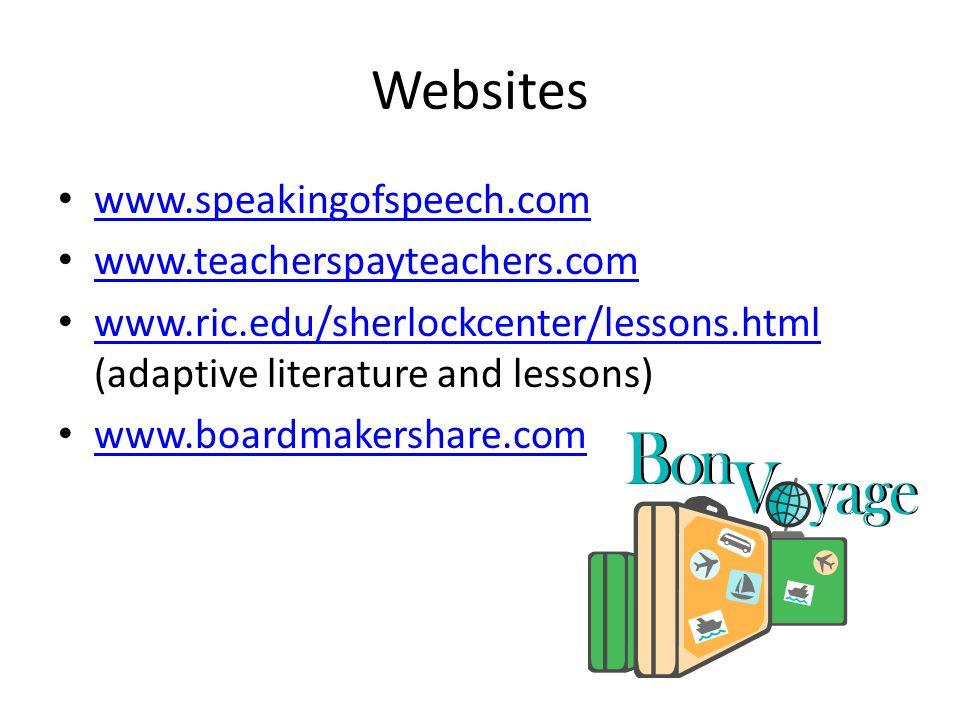 Websites www.speakingofspeech.com www.teacherspayteachers.com