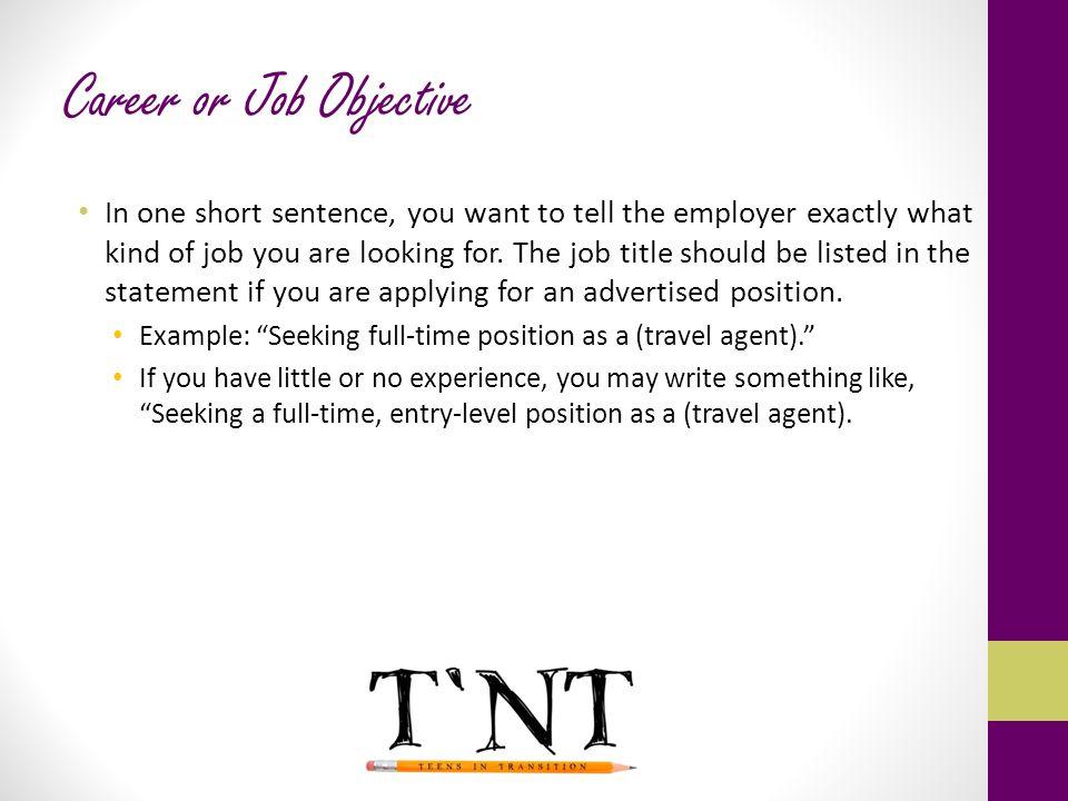 Career or Job Objective
