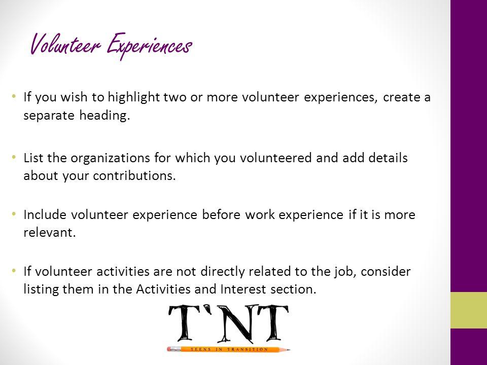 Volunteer Experiences