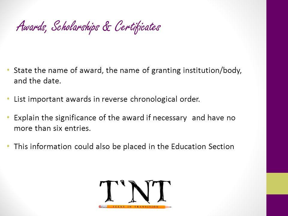 Awards, Scholarships & Certificates