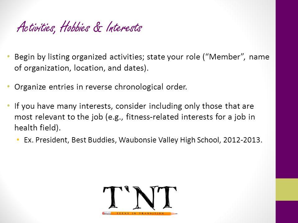 Activities, Hobbies & Interests