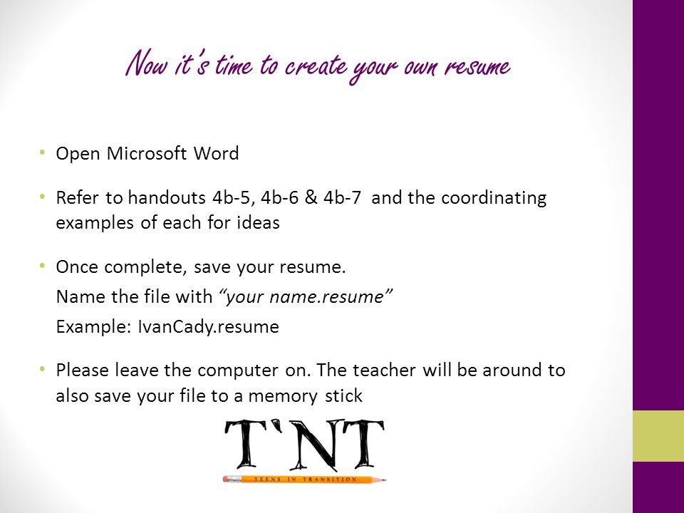 Now Itu0027s Time To Create Your Own Resume