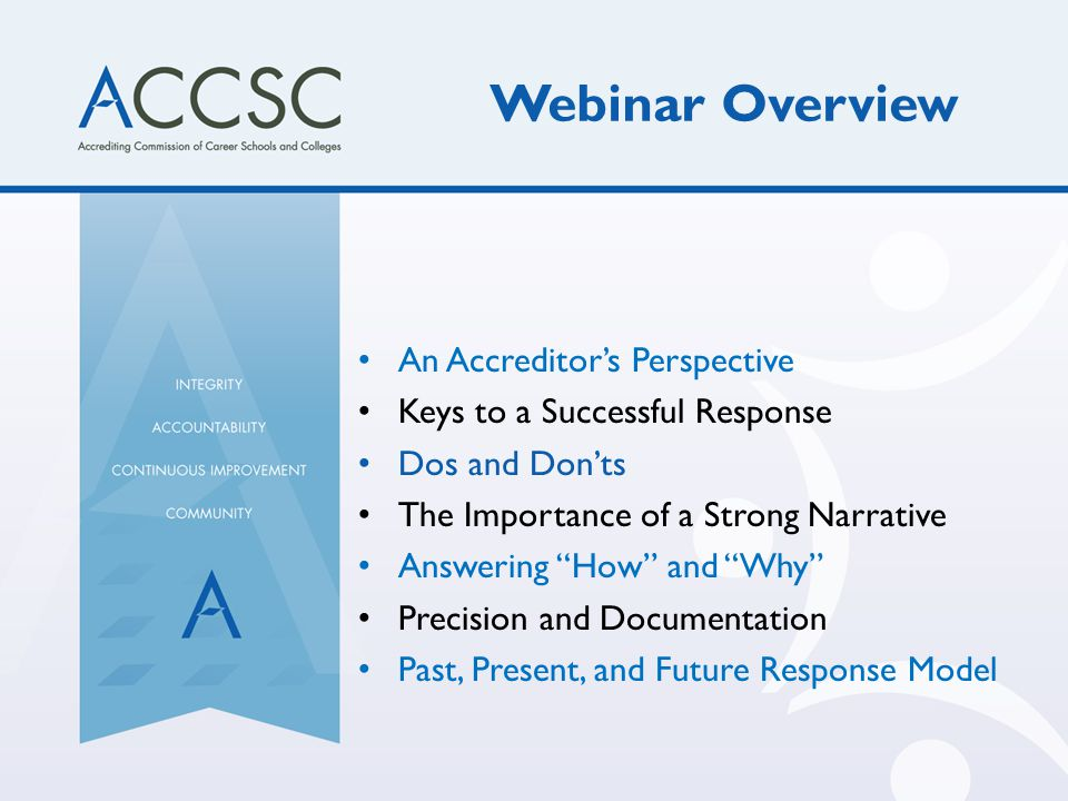 Webinar Overview An Accreditor's Perspective