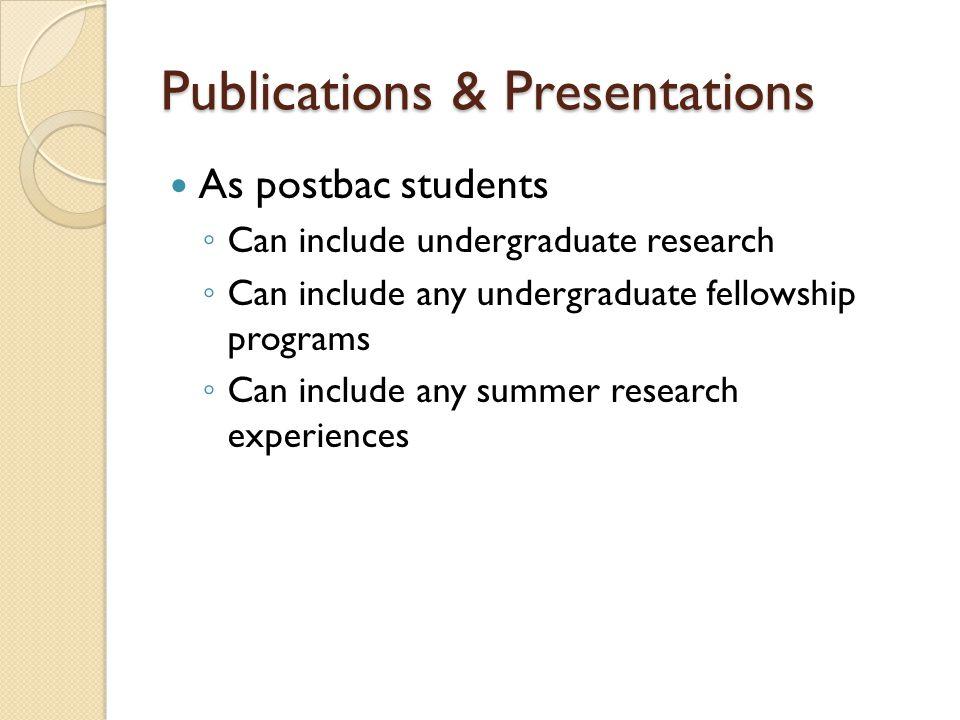 Publications & Presentations