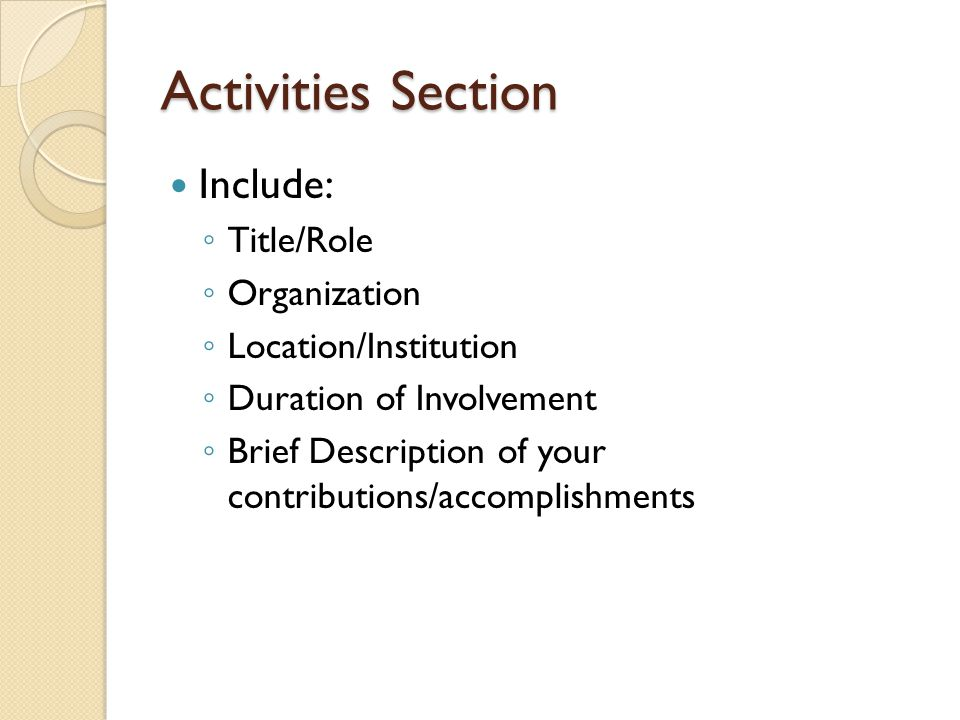 Activities Section Include: Title/Role Organization