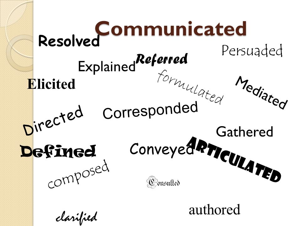 Communicated Resolved Persuaded Referred Explained formulated Elicited