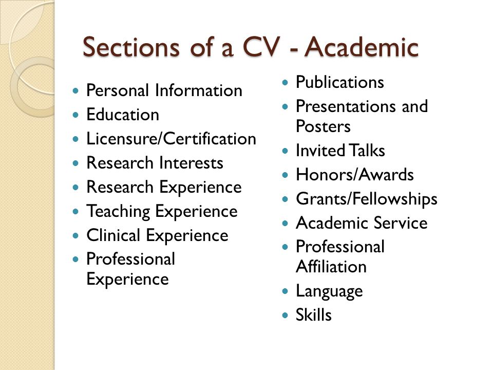 Sections of a CV - Academic
