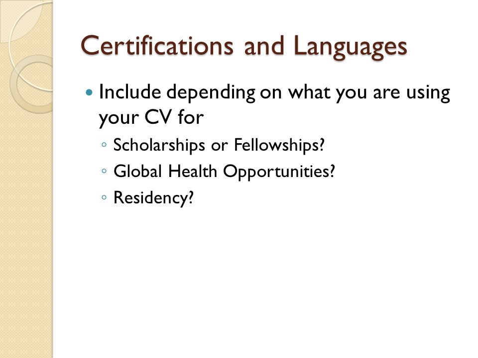 Certifications and Languages