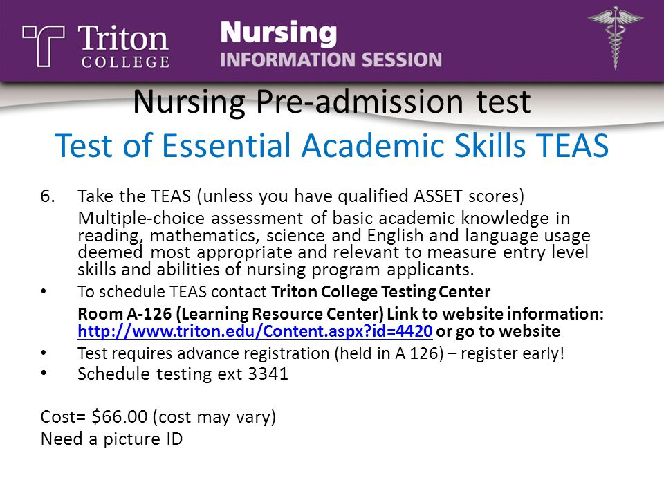 Nursing Pre-admission test Test of Essential Academic Skills TEAS