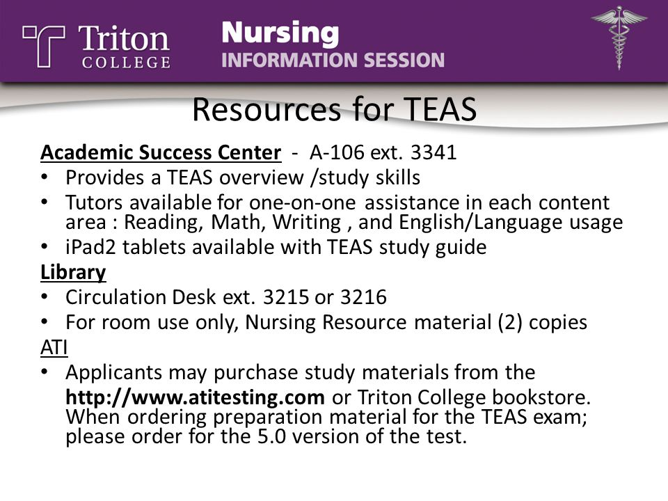Resources for TEAS Academic Success Center - A-106 ext. 3341