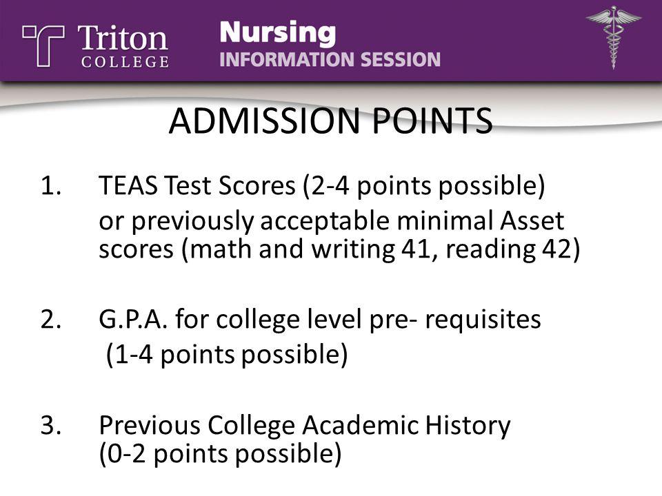 ADMISSION POINTS TEAS Test Scores (2-4 points possible)