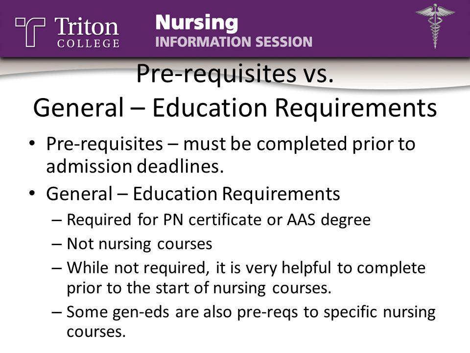 Pre-requisites vs. General – Education Requirements