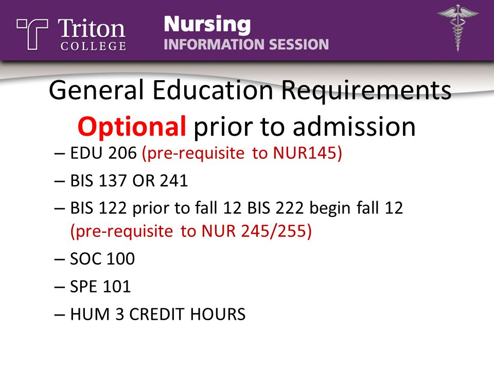 General Education Requirements Optional prior to admission