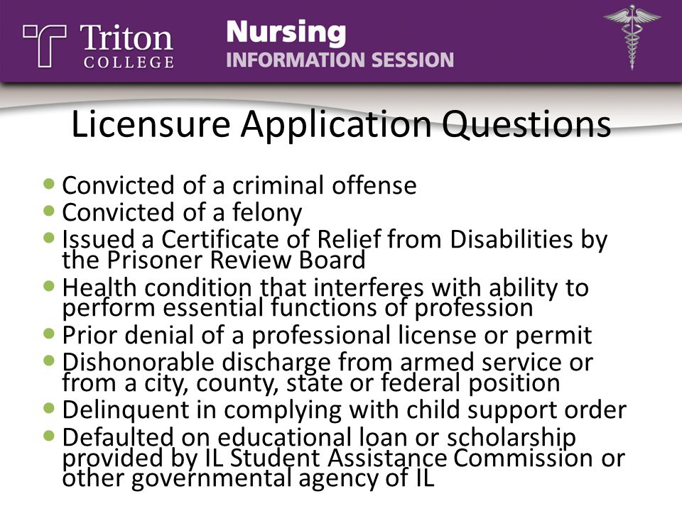 Licensure Application Questions