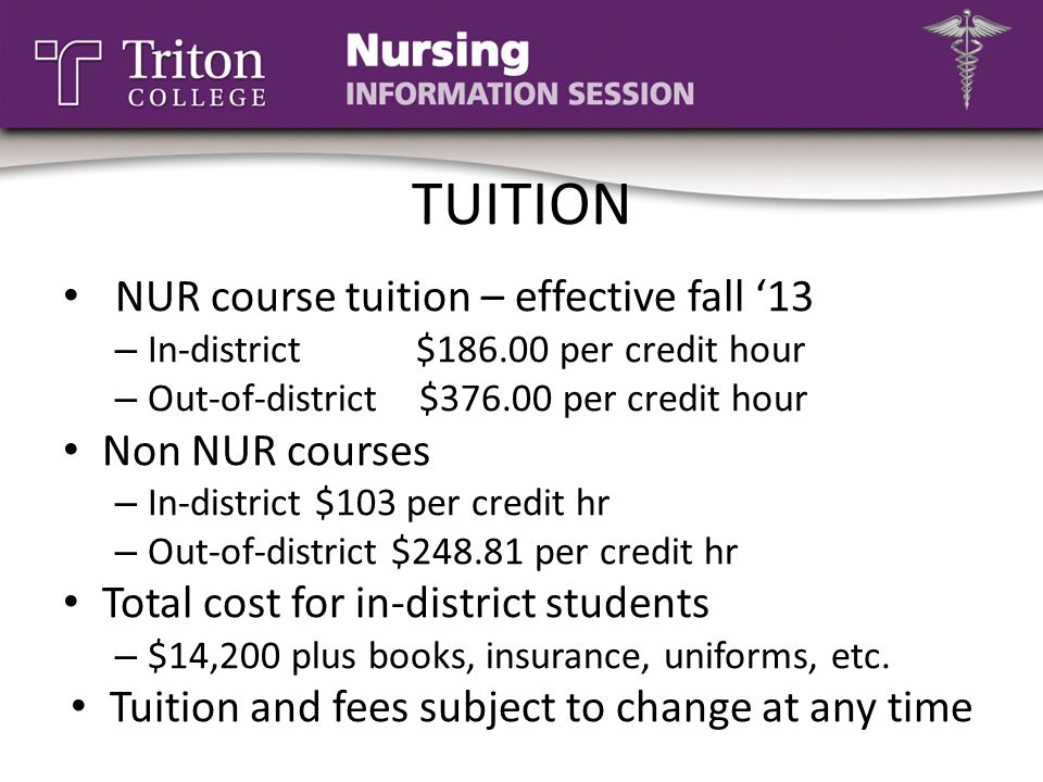 Tuition and fees subject to change at any time