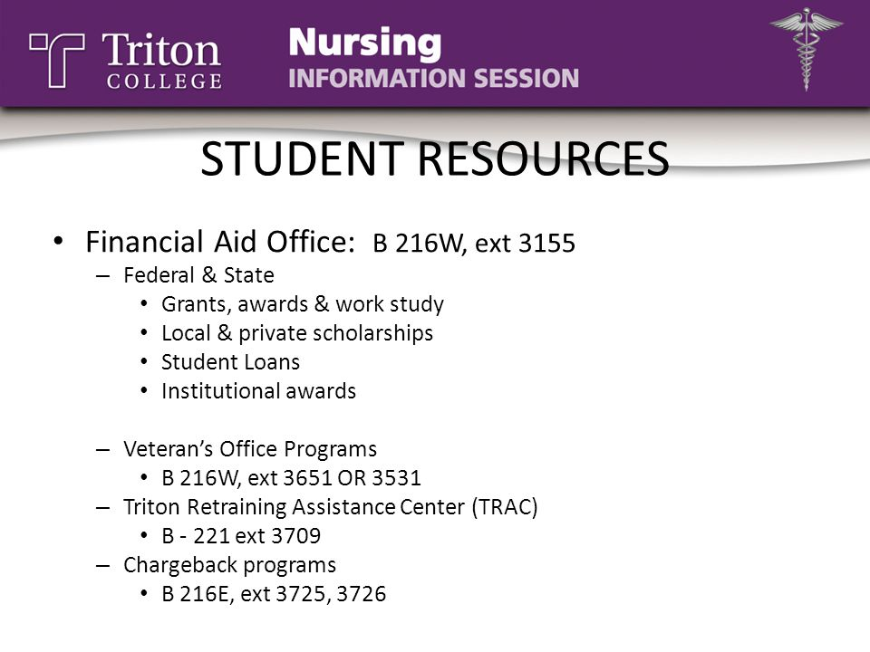 STUDENT RESOURCES Financial Aid Office: B 216W, ext 3155
