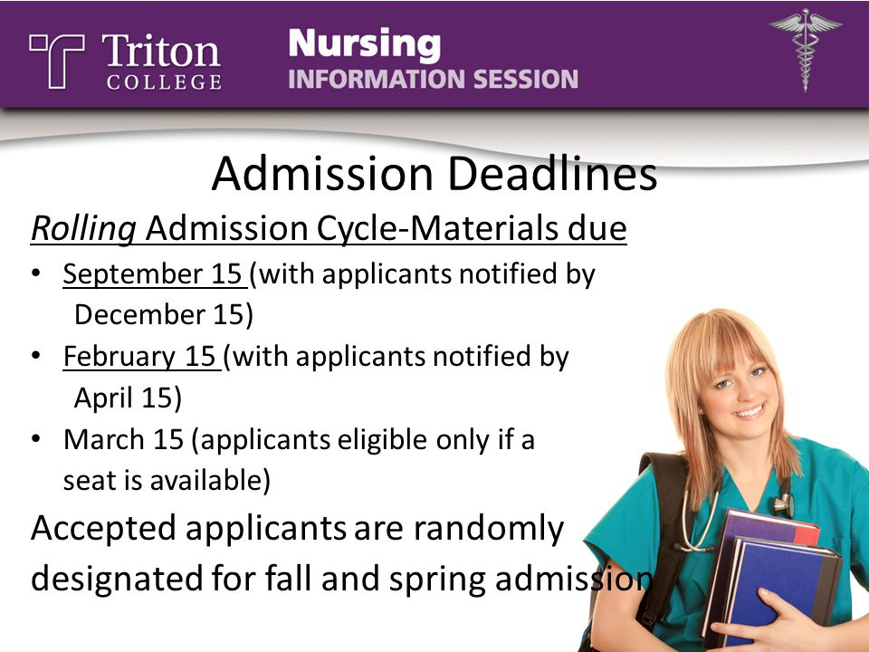 Admission Deadlines Rolling Admission Cycle-Materials due