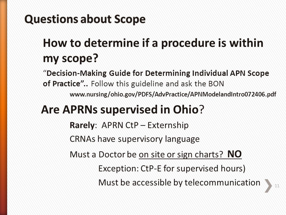 How to determine if a procedure is within my scope