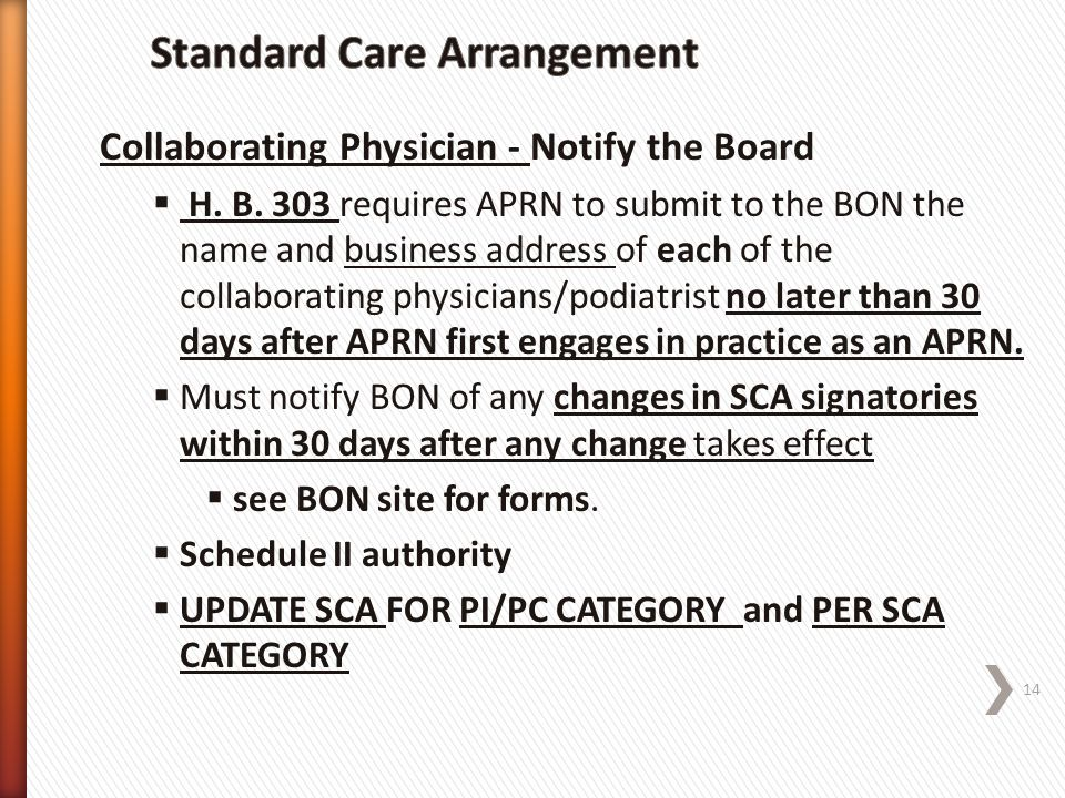 Standard Care Arrangement