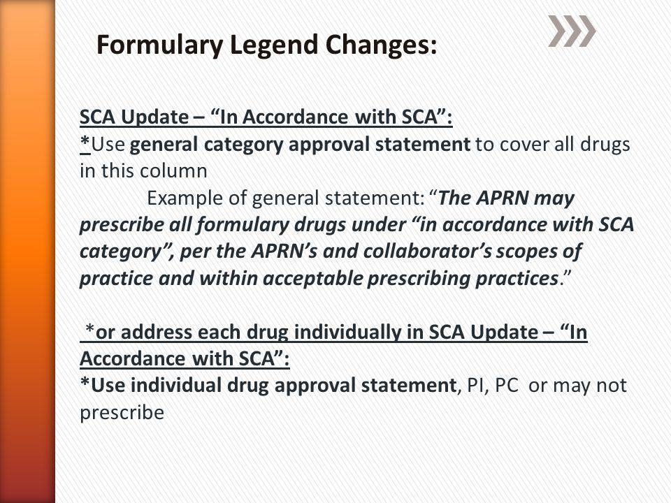 Formulary Legend Changes: