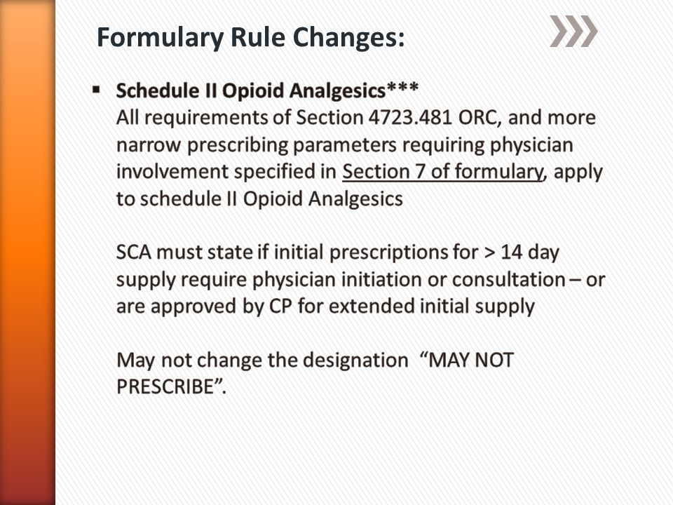 Formulary Rule Changes: