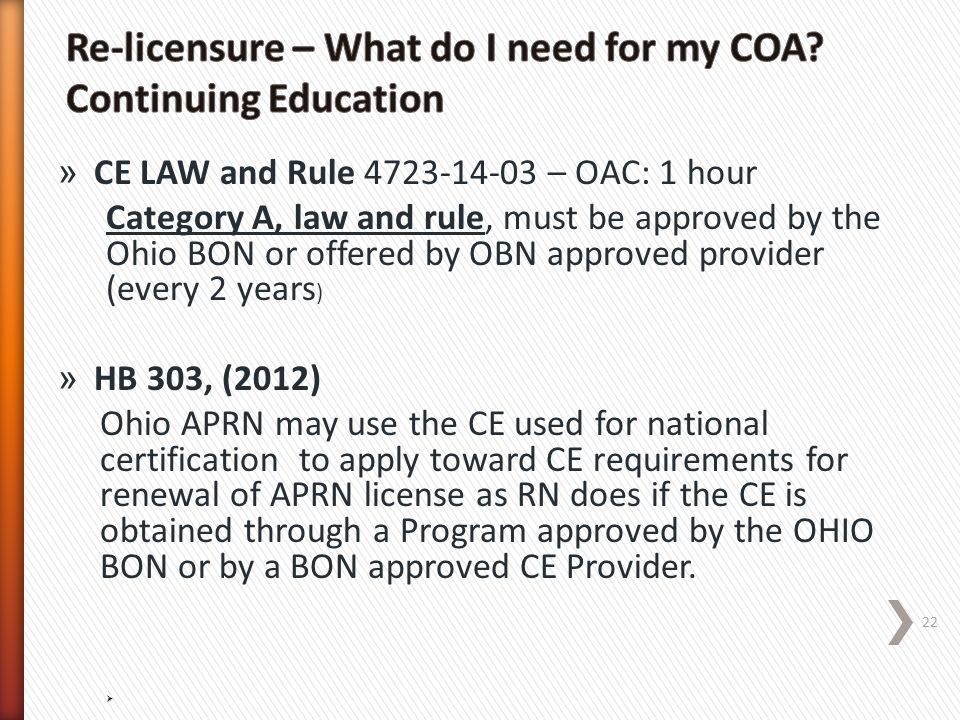 Re-licensure – What do I need for my COA Continuing Education