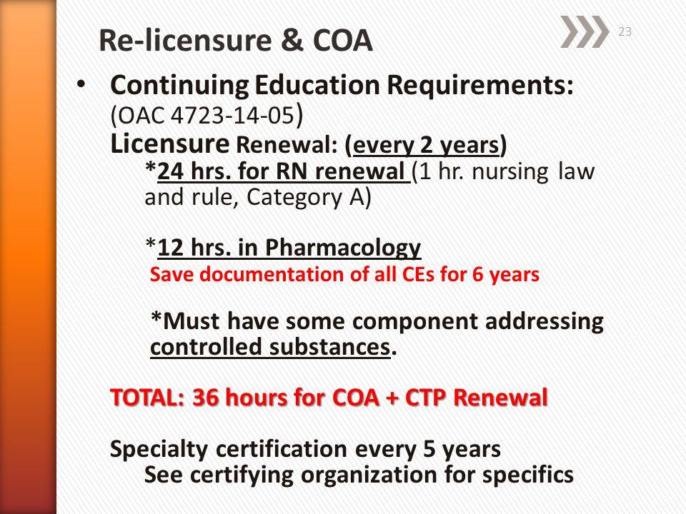 Re-licensure & COA