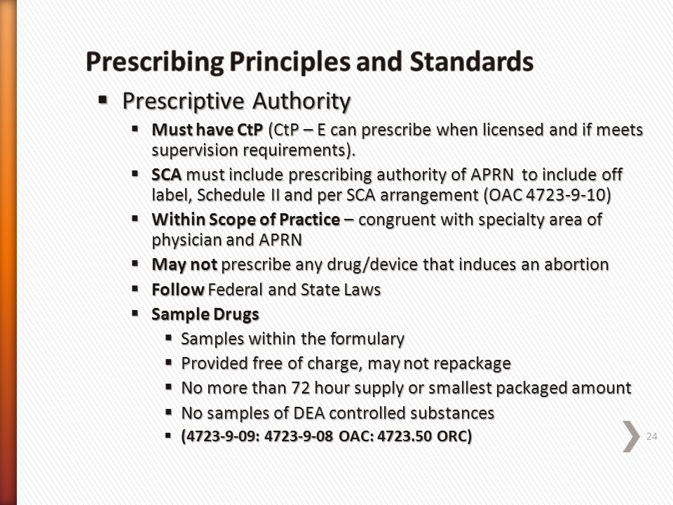 Prescribing Principles and Standards