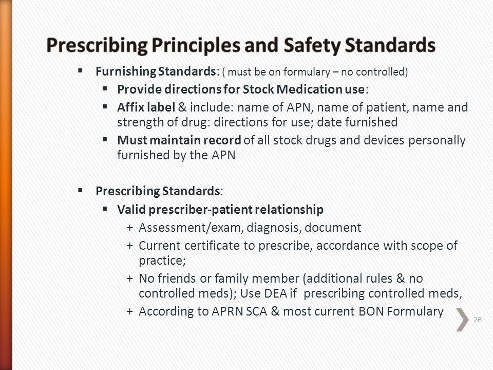 Prescribing Principles and Safety Standards
