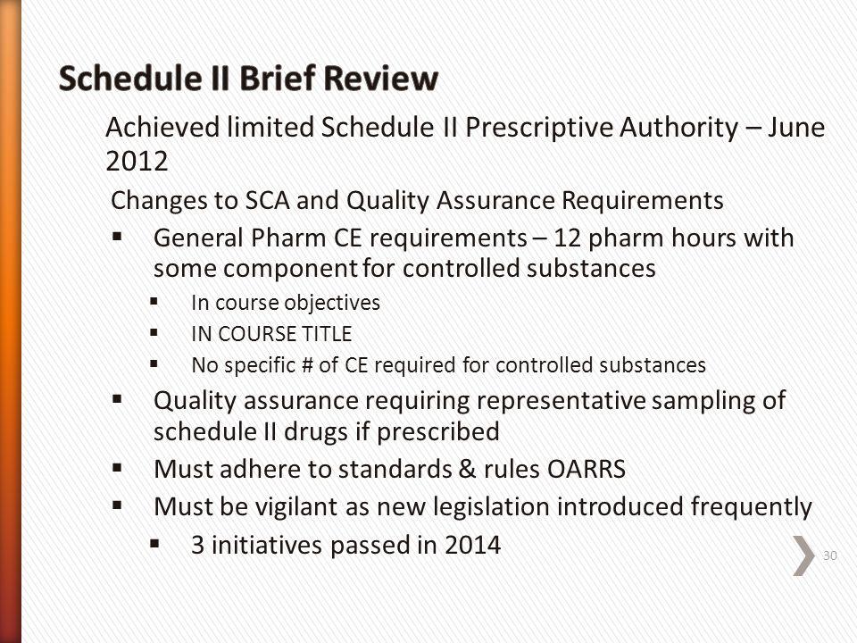 Schedule II Brief Review