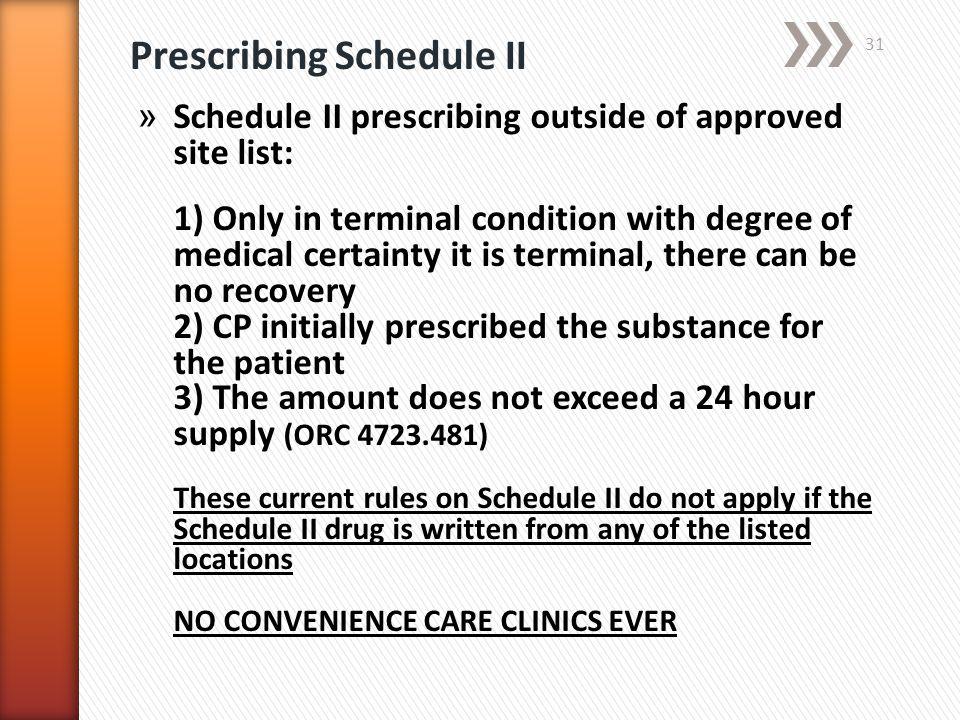 Prescribing Schedule II