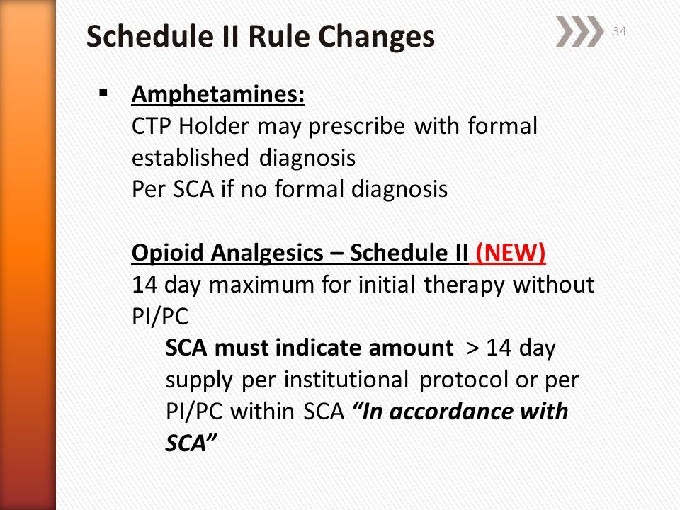 Schedule II Rule Changes