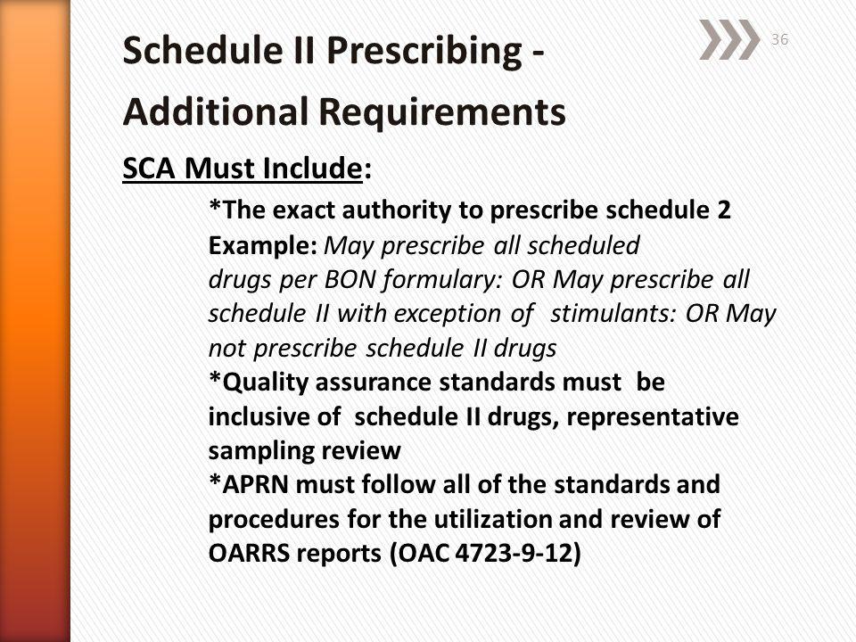 Schedule II Prescribing - Additional Requirements