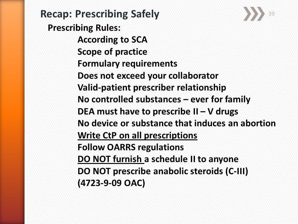 Recap: Prescribing Safely