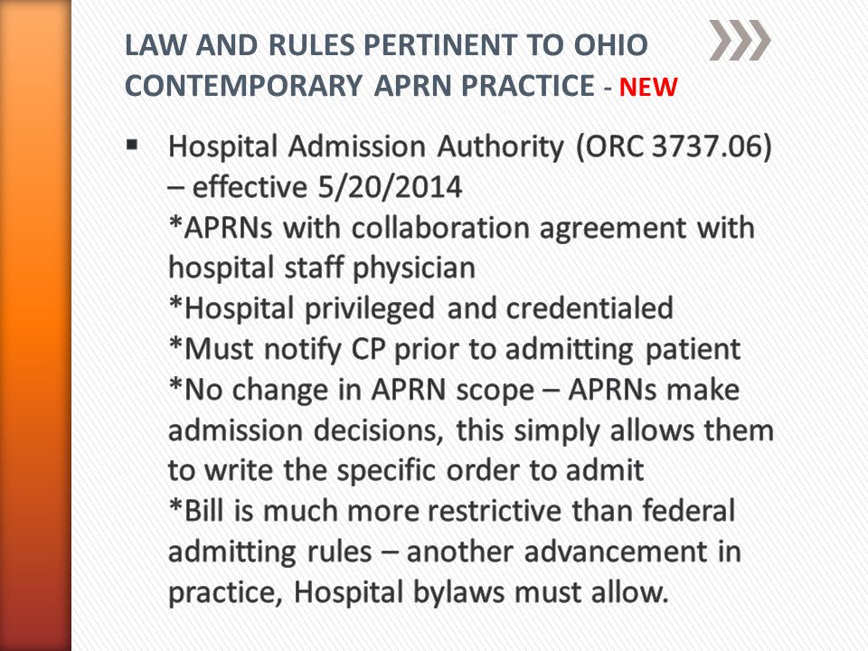 LAW AND RULES PERTINENT TO OHIO CONTEMPORARY APRN PRACTICE - NEW