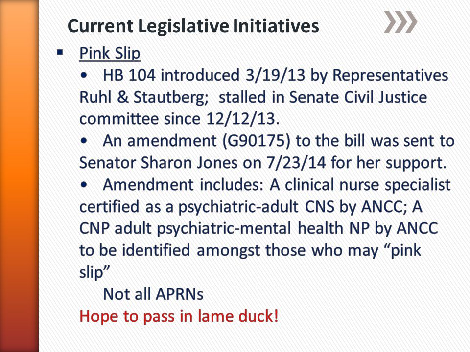 Current Legislative Initiatives