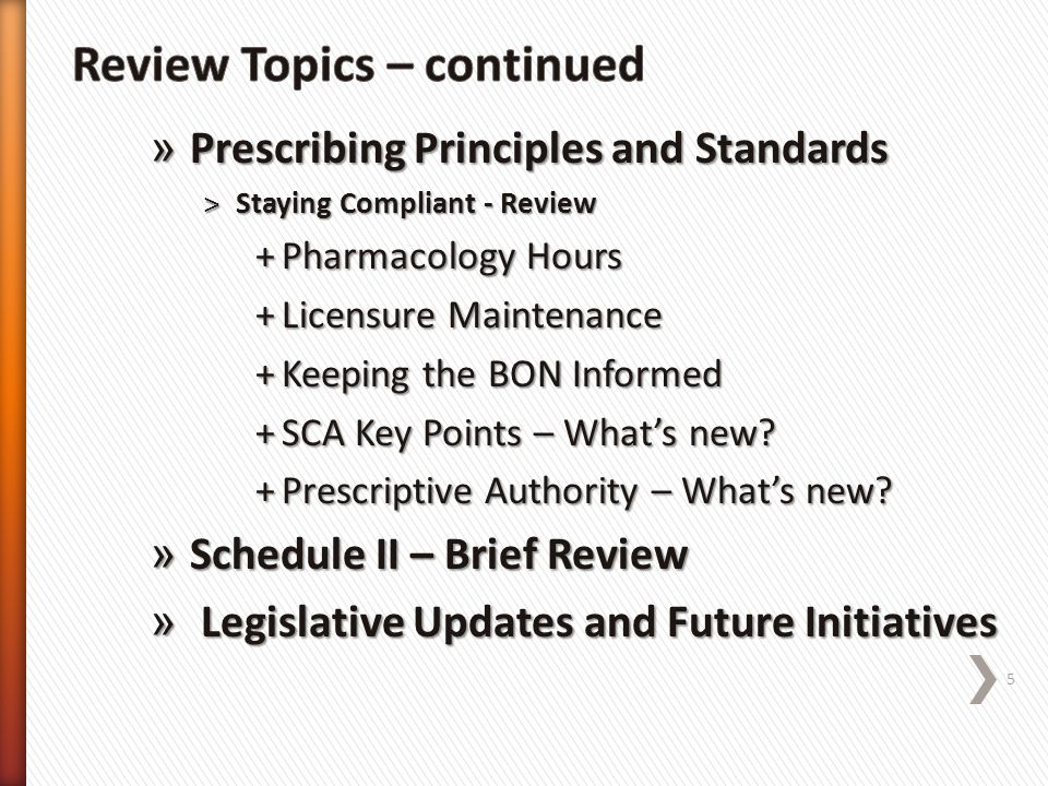 Review Topics – continued