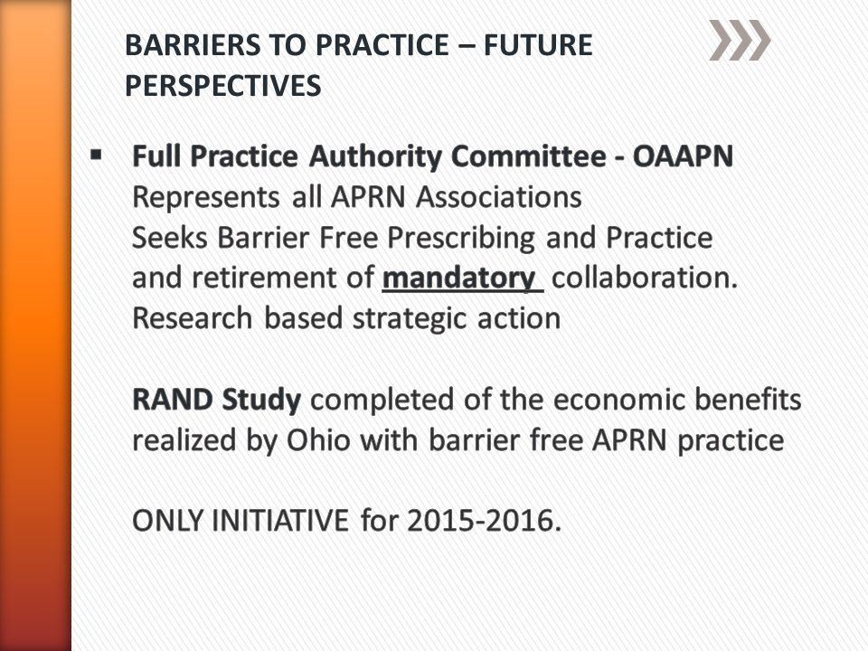 BARRIERS TO PRACTICE – FUTURE PERSPECTIVES